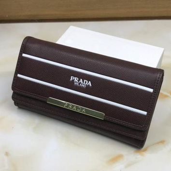 PEAPJ3V Prada Women Leather Buckle Wallet Purse-1