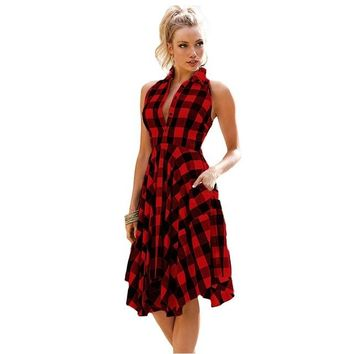 Flared Plaid Shirt-dress