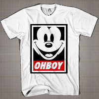 OHBOY Mickey  Mens and Women T-Shirt Available Color Black And White
