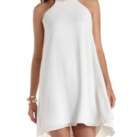 White Gold-Banded Halter Shift Dress by Charlotte Russe