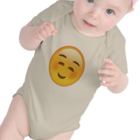 White Smiling Face Emoji Baby Bodysuit