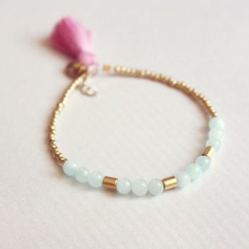 cotton candy - beaded tassel bracelet, pink and blue boho, minimalist, friendship bracelet
