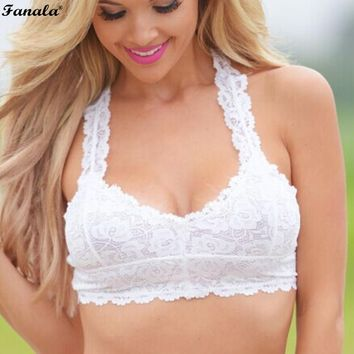Women sexy lingerie Bra Casual Lace Floral Front Non Padded Pullover Crop Top Bra N3020