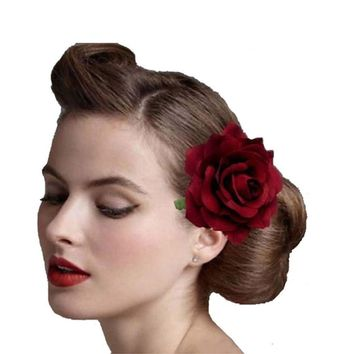 1PCS Fabric Blooming Rose Flower woman Hair Decorations & Brooch wedding party Hair Clip Bridal Wedding Hair accessories