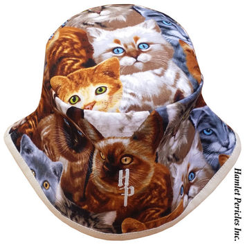 Cats Allover Unisex Bucket Hat | Cat Hat | Cats | Tabby | Kittens | Brown Hat | Light Brown Brim | Feline | Collage | Kitten Hat by Hamlet P