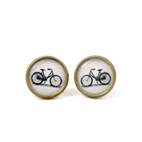 Bicycle Stud Earrings - Bike Earring Posts - Retro Jewelry - Black White - Free Shipping Etsy