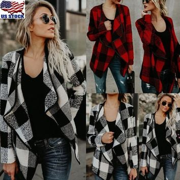 Women Casual Asym Plaid Checks Long Sleeve Cardigan Knitwear Outwear Coat Jacket