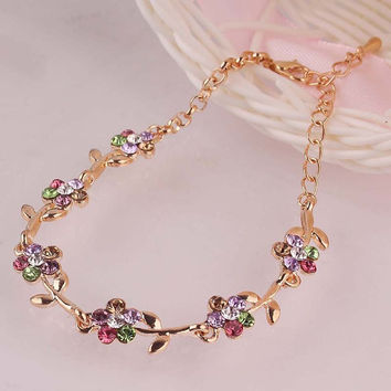 Flower Colorful 14K Gold Plated Chain Bracelets&Anklets For Women Anklets Foot Jewelry