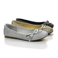 TicIIS Gold Glitter By Happy Soda, Children Girls Bow Sparkling Ballerina Slip On Dress Flats