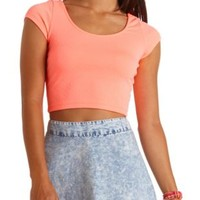 Geo-Textured Cap Sleeve Crop Top by Charlotte Russe