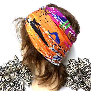 Orange Multi-color Headwrap, Yoga Headband, Wide Headband, Running Headband, Workout Headband, Turban Headband, boho, scarf, wrap
