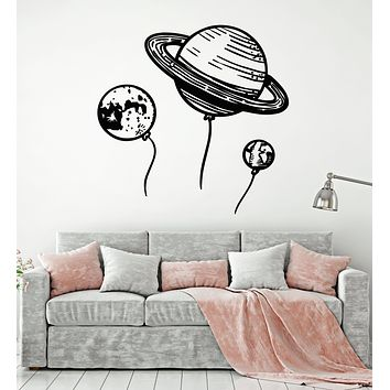 Vinyl Wall Decal Cartoon Space Universe Planets Kids Bedroom Stickers Mural (g2567)