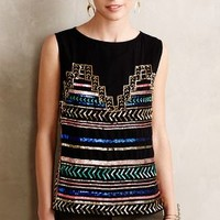 Sequin Stripe Tank by Mara Hoffman Black Motif