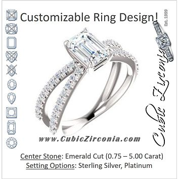 Cubic Zirconia Engagement Ring- The Yasmeen (Customizable Emerald Cut Style with Wide X-Split Pavé Band)