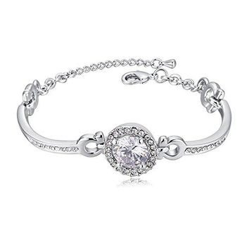 SX Commerce Jewelry Gifts for Her Guardian of Love 18K WhiteGold Plated Women Bracelet Bangle Made with Swarovski Crystals the Charm Adjustable Ideal Gifts for Girl