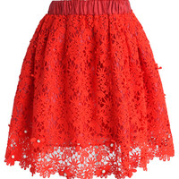 Glittering Flower Crochet Skirt in Red Red S/M