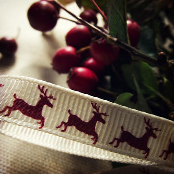 Christmas Photography Reindeer Ribbon Red Berries Green Home Decor 8x8 Square Print Noel..