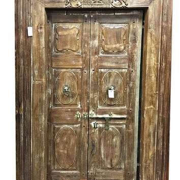 Indian 19th Century Antique Reclaimed Wood Lotus Door with Brass Latch