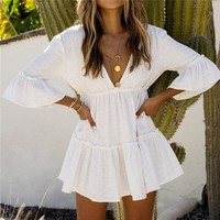 Beach dress Saida de Praia Cotton Beach Cover up Kaftan Beach Pareos de Playa Mujer Lace Bikini Cover up Swimsuit cover up #Q840
