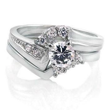 .925 Sterling Silver Wedding Ring Set with Halo CZ Ladies Bridal Engagement Ring and Band Size 5-9