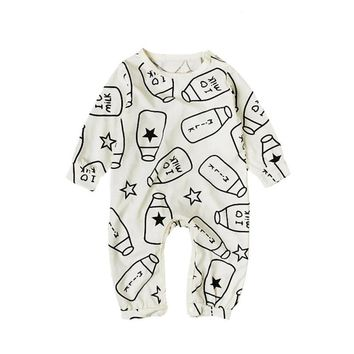 Baby boy clothing jumpsuit products spring autumn infant girl rompers Cotton new born baby clothes set milk bottle printed R4
