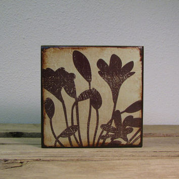 Floral Art Block Painting Wall Hanging WildFlower -- MatchBlox-1693