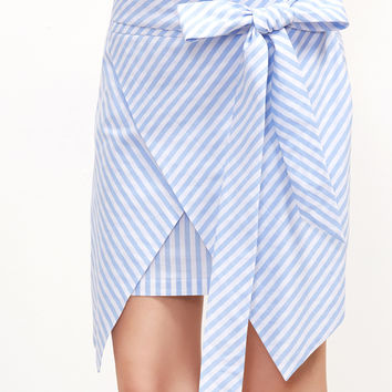 Blue Striped Belted Wrap Skirt