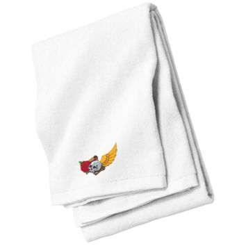 Skull, Rose, Wing And Parchment Beach Towel