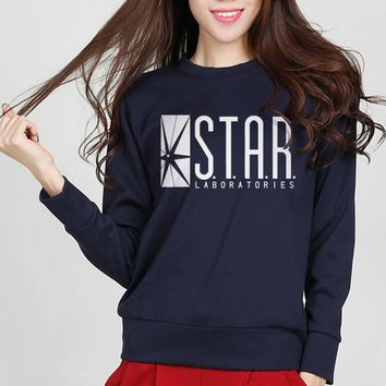 2016 New Fashion Autumn Funny American Drama The Flash Sweatshirt Star Laboratories Women Comic Books TV Star Labs Slim Hoodies