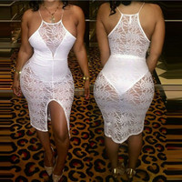 fashion womens white lace overalls dresses short casual summer dresses