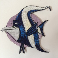 Gill (finding nemo) Embroidered Motif Iron/Sew on Patch Badge Embroidery