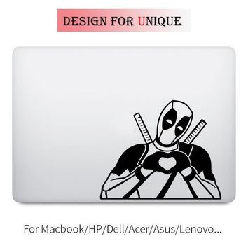 Deadpool Dead pool Taco  Heart Hand Humor Decal Laptop Sticker for Apple Macbook Pro Air Retina 11 12 13 15 inch Vinyl Mac HP Surface Book Skin AT_70_6