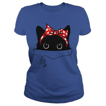 Big pocket cat shirt Premium Fitted Ladies Tee