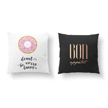 SET of 2 Pillows, Bon Appetit Pillow, Throw Pillow, Cushion Cover, Positive Quote, Donut Worry Be Happy, Gold Pillow, Kids Art, Bed Pillow
