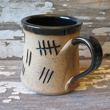 Tally Mark Mug - Silence Will Fall - Tardis - Pottery Mug - The Silence - Handmade Fan Art -  Doctor Who Inspired - SALE