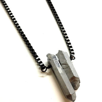Mens Necklace w/ Silver Crystal. Guys Spike Necklace. Gemstone Jewelry. Black Stainless Steel Necklace. Jewelry for Him and Her