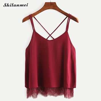 New Arrival Plain Wine Red Spaghetti Strap Lace Chiffon Camisole Cami Tank Top Korean 2018 Summer Female Blusa Cropped Feminino