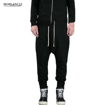 MORUANCLE Fashion Mens Drop Crotch Sweatpants Drawstring Hip Hop Joggers Elastic Waist And Cuff Black Harem Pants Trousers E0117