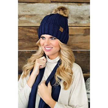 * Fur Lined C.C. Cable Knit Pom Beanie - Navy