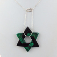 Star of David, Star of Bethlehem Malachite and Onyx Pendant with Sterling Silver Necklace