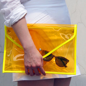 Neon Day-Glo Oversize Clear Envelope Clutch Purse Bag Handbag - Cosmic Jelly Orange Transparent - Women Ladies - Handmade