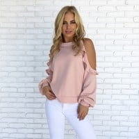 Ruffle Cold Shoulder Sweater Top in Pink