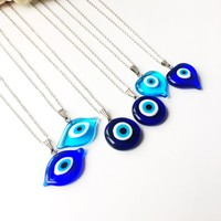 Evil eye necklace, blue evil eye bead, evil eye charm necklace, nazar boncuk
