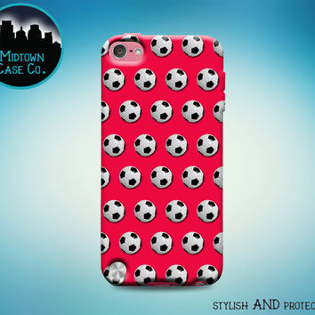 Soccer Balls Pattern ** Choose the Color You Want! ** Sports Football Futbol Cool Rubber Case for iPod Touch 6th Gen or 5th Gen
