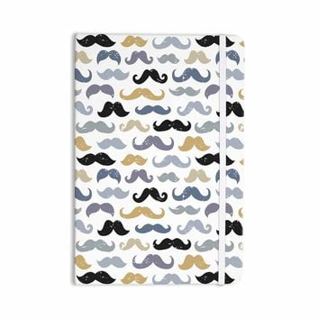 "Daisy Beatrice ""MUSTACHES MINI - SLATE-GOLD"" Blue Tan Pattern Modern Vector Illustration Everything Notebook"