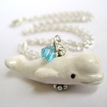 Baby Beluga Whale Necklace  Beluga Whale by SpotLightJewelry