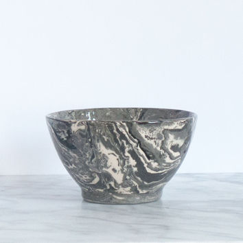 Grey Ebru Marble Ceramic Bowl