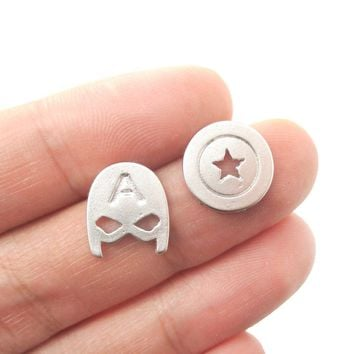 Captain America Mask and Shield Shaped Stud Earrings in Silver | Super Heroes Jewelry