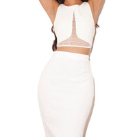 Adore Me Lace Sheer Two Pieces Bodycon Bandage Dress