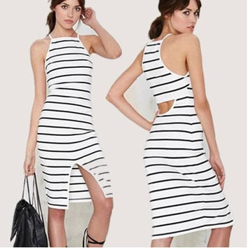 Strapless Hollow Out Off Shoulder Stripes Spaghetti Strap Striped Simple Design One Piece Dress = 4806568452